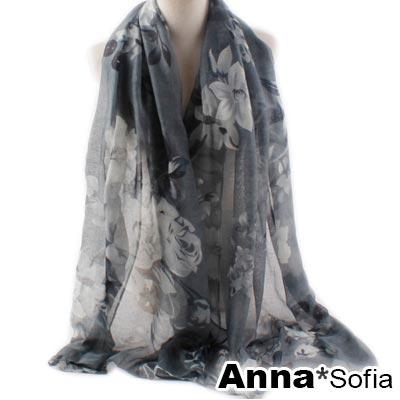 AnnaSofia-月季盛花-巴黎紗披肩圍巾-深灰系