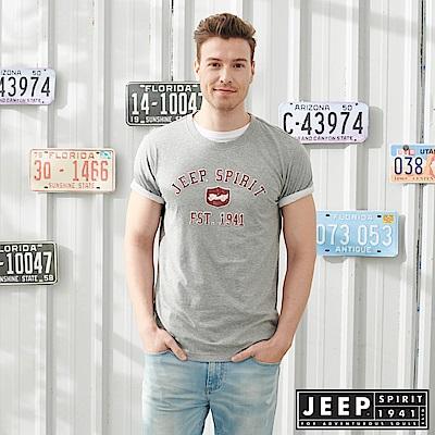 JEEP 美式立體文字浮雕短袖TEE-灰