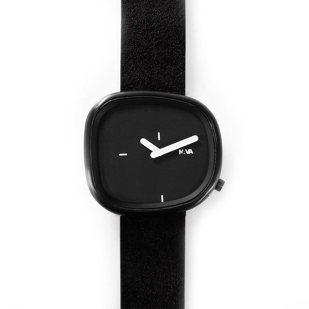 NAVA DESIGN 經典淬鍊石頭造型腕錶-IP黑/42mm