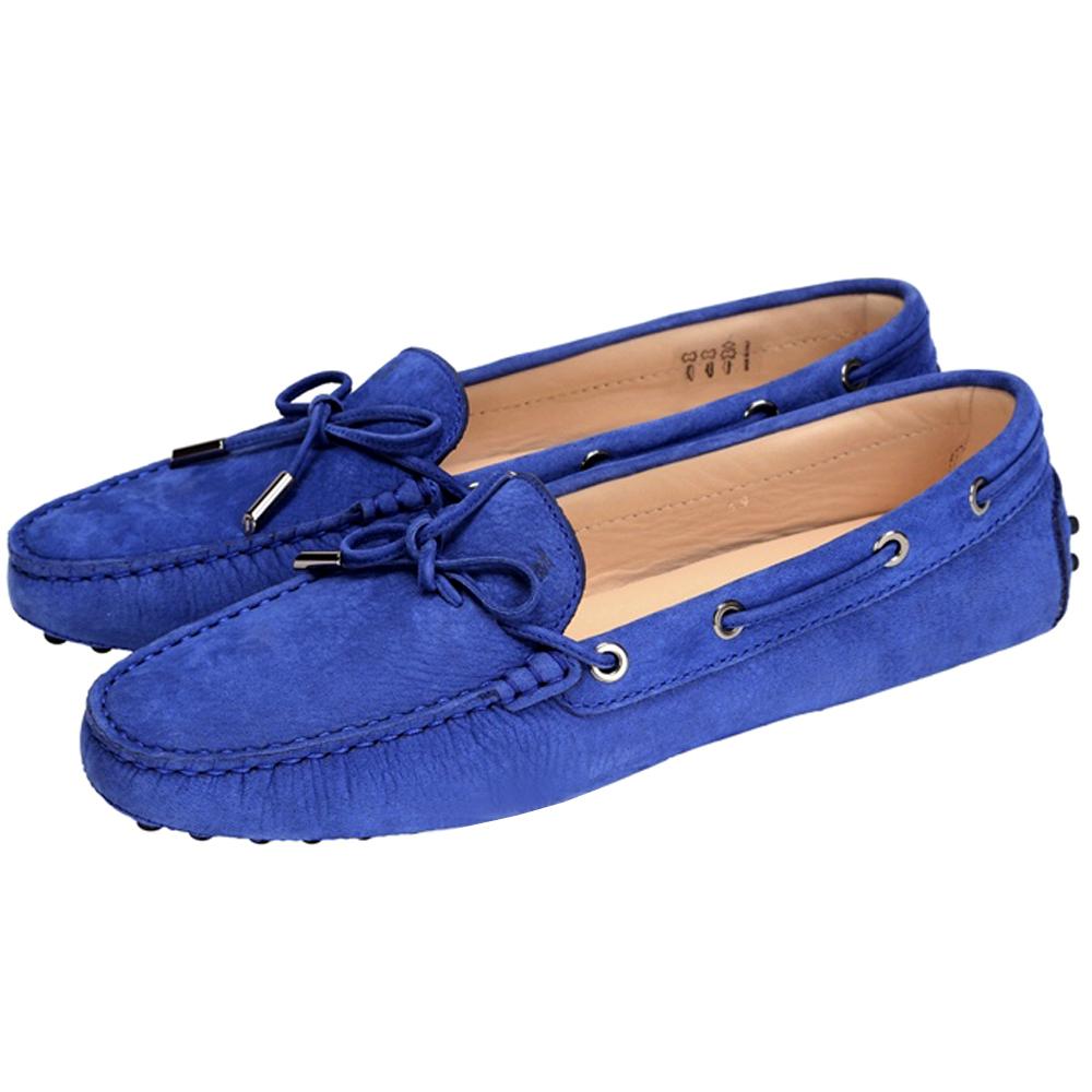 TOD'S Gommino 經典壓紋綁帶豆豆休閒鞋(寶藍色)