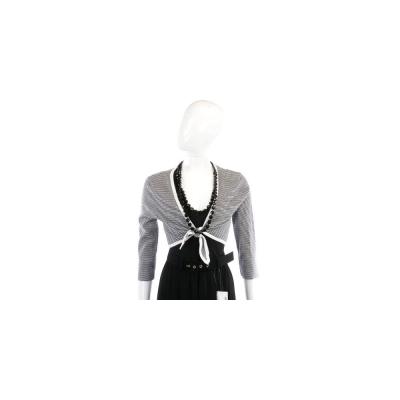 Kristina Ti 黑白色條紋綁帶設計小外套