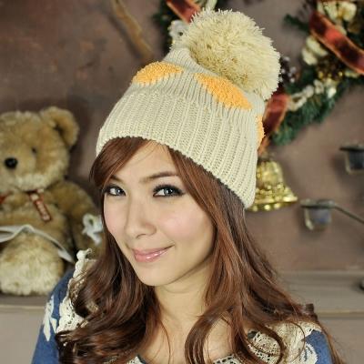 Aimee-Toff-雙色菱格格大球球針織毛帽-米