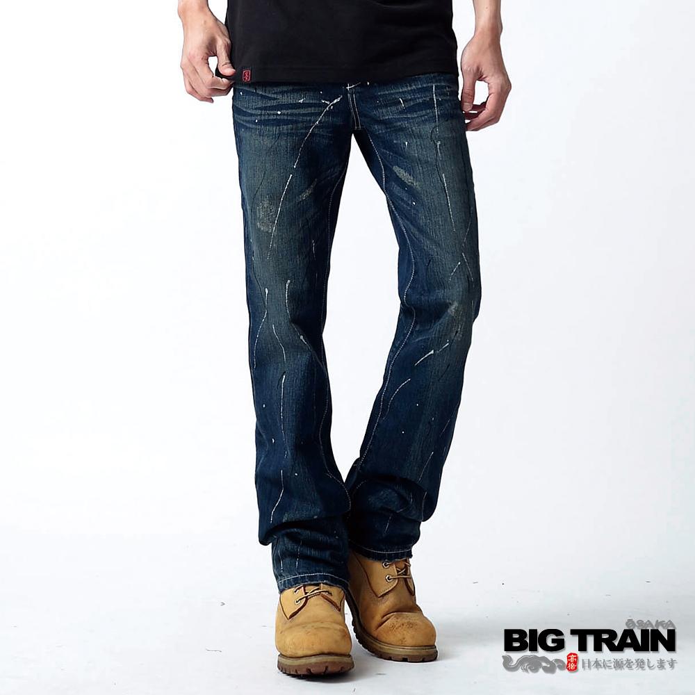 BIG TRAIN 割破噴漆小直筒褲-中深藍