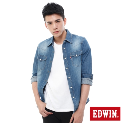 EDWIN-經典牛仔襯衫-男-拔洗藍