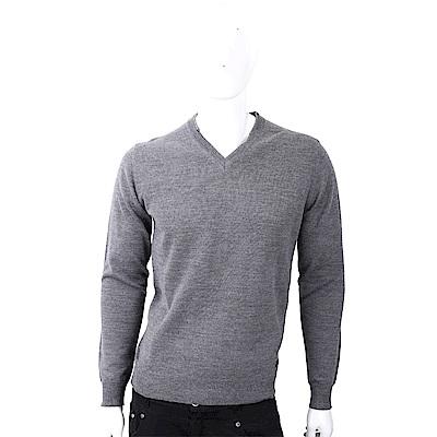 TRUSSARDI 皮革標灰色針織羊毛衫