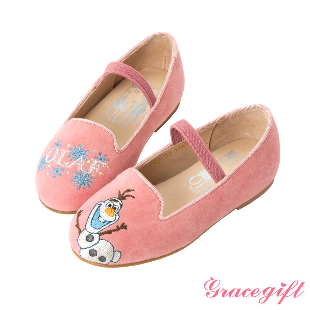 Disney collection by Grace gift-雪寶絨布童鞋 粉