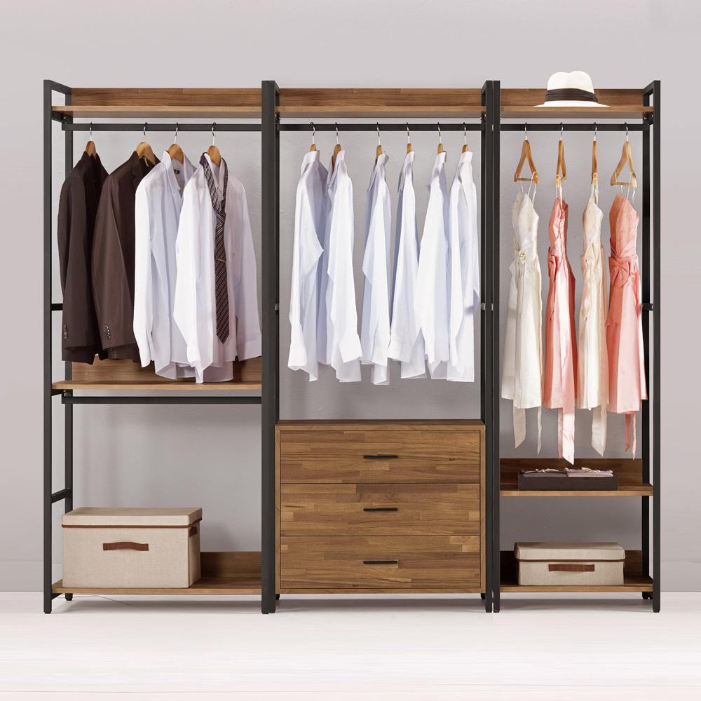 Bernice-諾德7.3尺開放式組合衣櫃(雙吊+三抽+單吊)-220x44x191cm