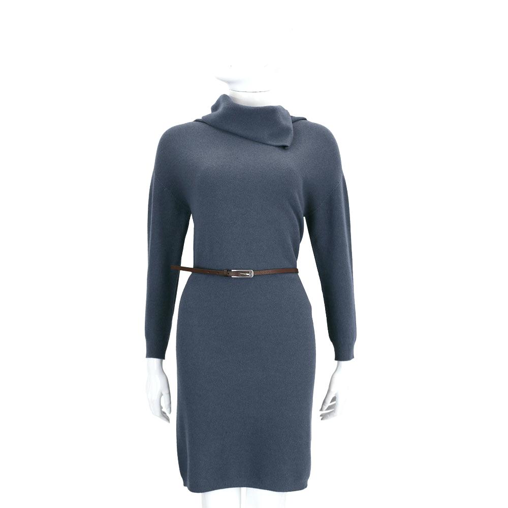 FABIANA FILIPPI 藍灰色翻領設計羊毛長袖洋裝(附腰帶)