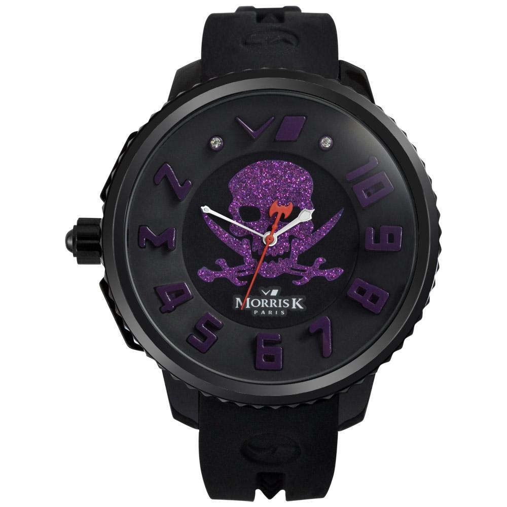 MORRIS K 反轉世界潮流腕錶-黑x紫/45mm