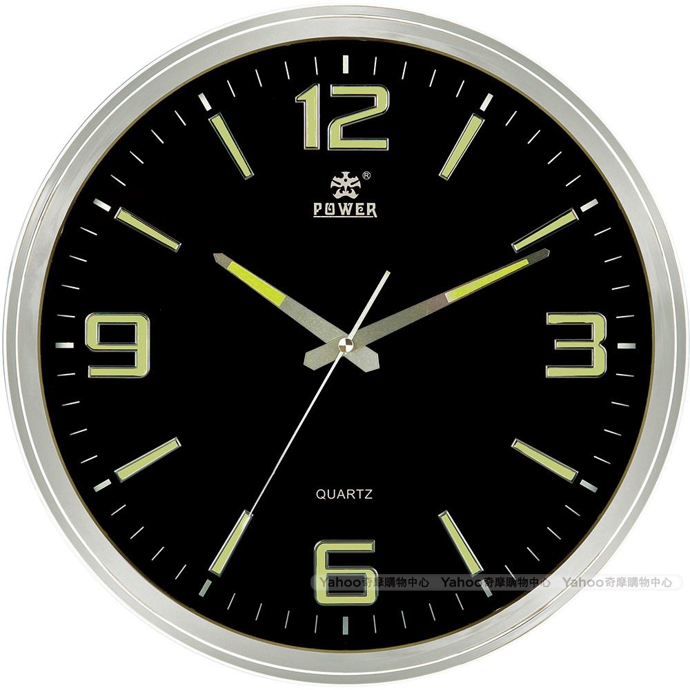 POWER霸王鐘錶-極簡超靜音掛鐘-時尚黑-PW-923-BLKST-38CM