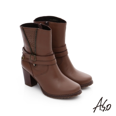 A.S.O 保暖靴 鉚釘拉鍊釦飾粗跟短靴 咖啡