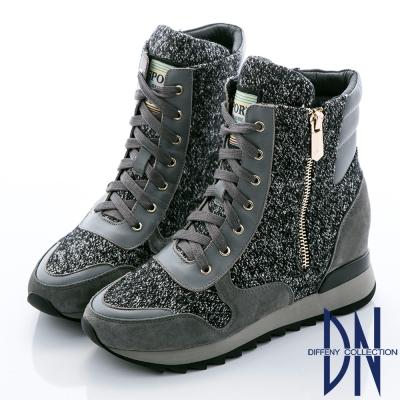 DN 狂野魅力 混色毛料拼接磨砂牛皮綁帶中筒靴-灰