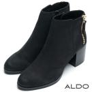 ALDO 原色真皮雙金屬拉鍊木紋粗跟短靴~尊爵黑色