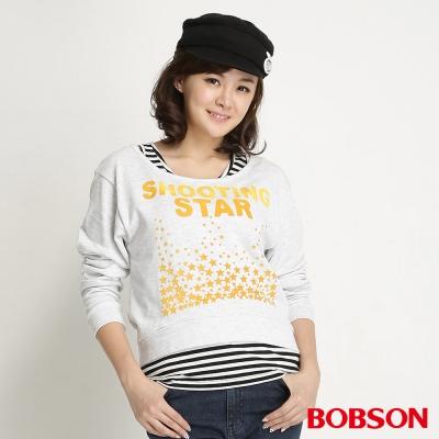 BOBSON 女款兩件式長袖上衣(麻灰82)
