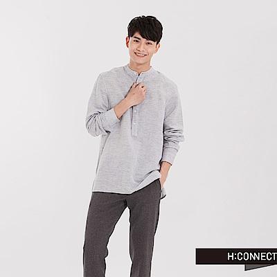 H:CONNECT 韓國品牌 男裝 - 亨利領亞麻襯衫-灰黑