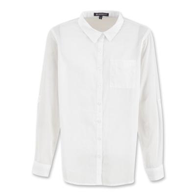 Hang Ten-女裝-簡約純棉薄質襯衫 - 白