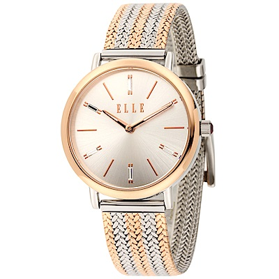 ELLE 米蘭編織不鏽鋼腕錶-香檳金X銀/32mm