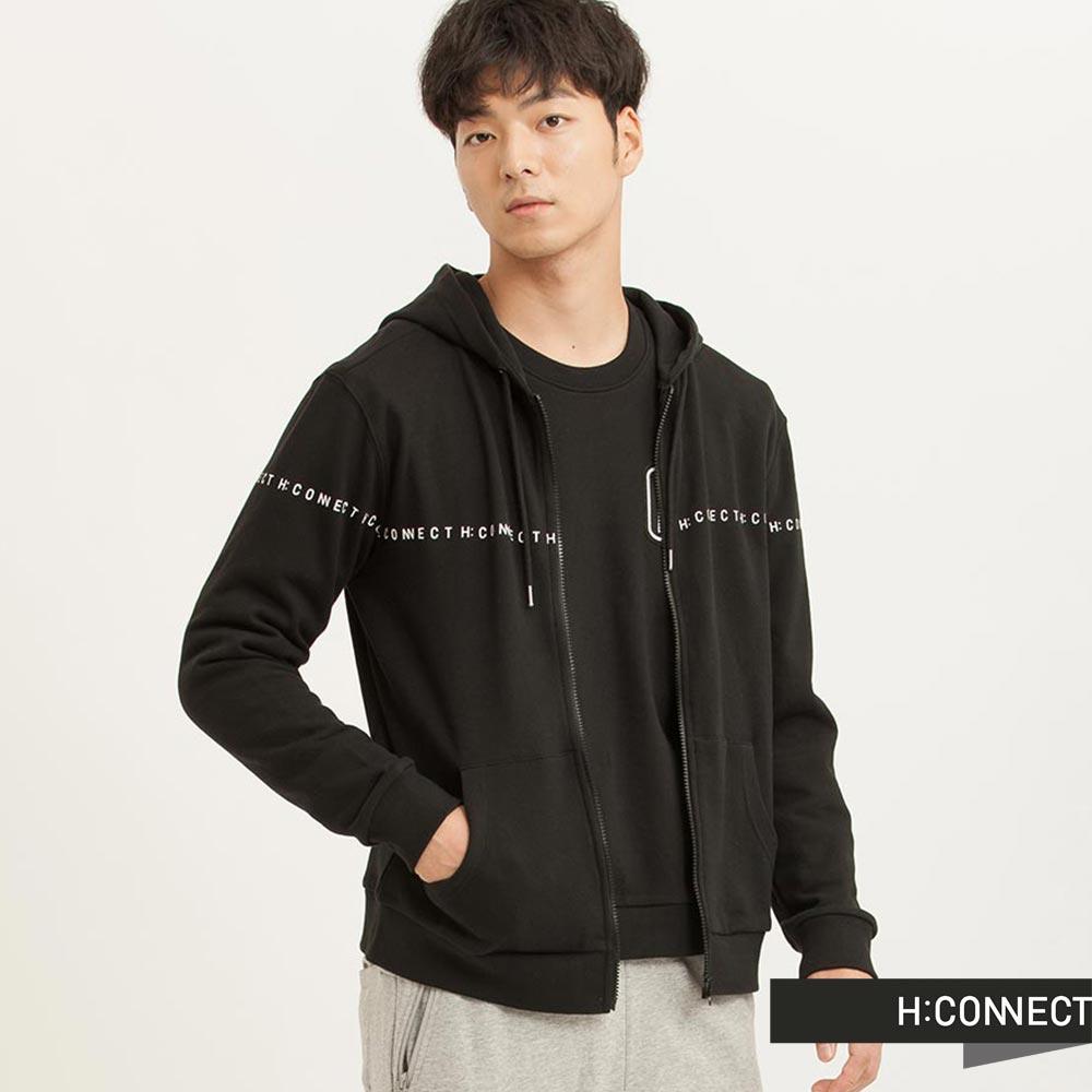 H:CONNECT 韓國品牌 男裝 - CONNECT純色連帽外套 - 黑色