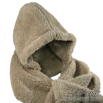 A-Surpriz-長耳朵帽子刷毛圍巾-淺咖