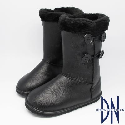 DN 暖冬必敗 暖暖毛茸滾邊鈕扣中筒靴 黑