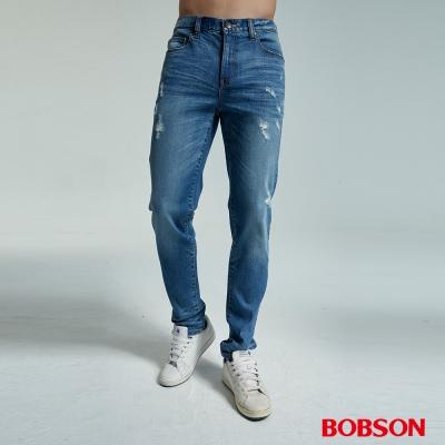 BOBSON 男款低腰有機棉刷破直筒褲