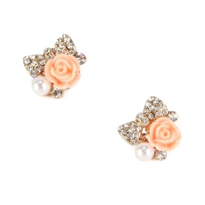 FOREVER 21 輕甜玫瑰蝴蝶結針式耳環-粉紅