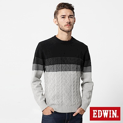 EDWIN  漸層麻花線衫-男-黑色