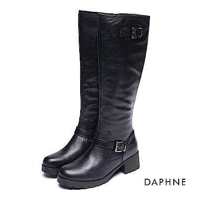 達芙妮DAPHNE 長靴-皮帶釦拼接牛皮絨毛內裡長靴-黑