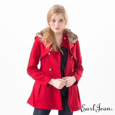 Earl Jean 毛領雙排扣連帽大衣-紅色-女