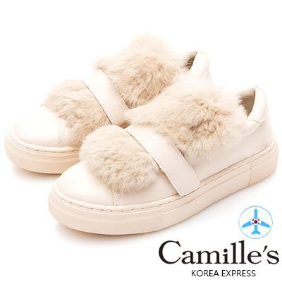 Camille's 韓國空運-兔毛魔鬼氈休閒鞋-杏色