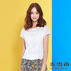 【麥雪爾】純棉荷葉幾何剪裁上衣-白-動態show