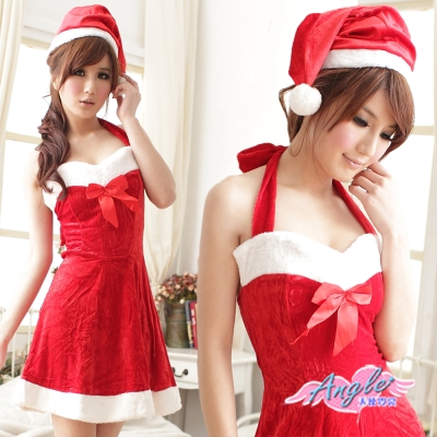 耶誕服-搖滾風潮-聖誕舞會角色扮演露肩連身裙-紅F-AngelHoney天使霓裳