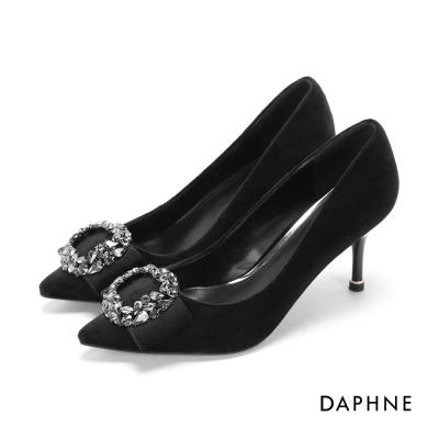 達芙妮DAPHNE 高跟鞋-水鑽環飾絨面尖頭高跟鞋-黑
