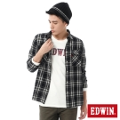 EDWIN 輕磨毛格紋剪接長袖襯衫-男-黑色格
