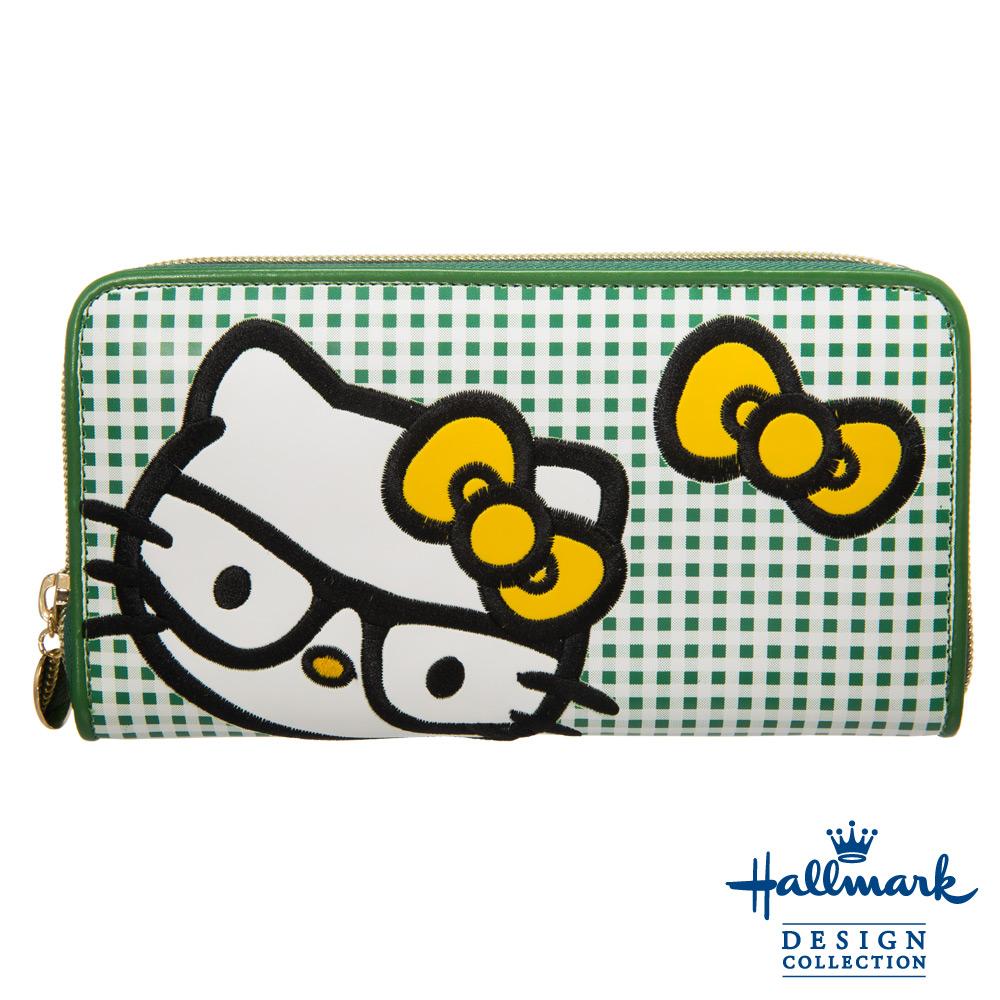 Hallmark x Kitty凱蒂聯名款學院格紋拉鍊長夾-綠色HLKT15A194GR