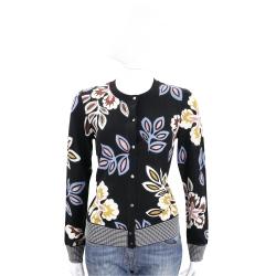 TORY BURCH Liana Floral 黑色印花美麗諾羊毛小外套