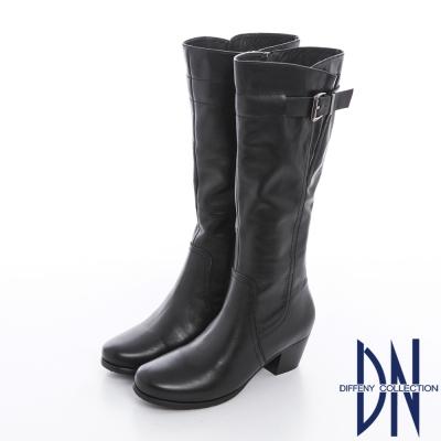 DN 獨特自我 簡約素面設計單釦百搭長靴 黑