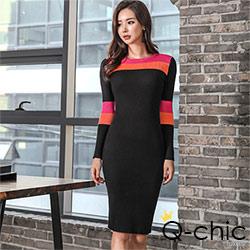 正韓 圓領撞色長袖針織洋裝 (共二色)-Q-chic