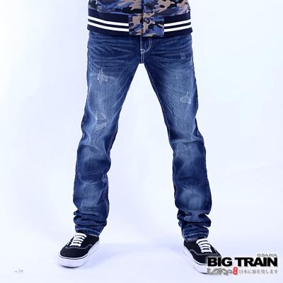 BIG TRAIN 經典小直筒褲-男-中藍