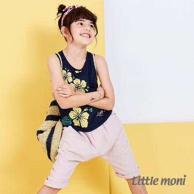 Little moni 夏日舒適棉麻感五分哈倫褲 粉紅