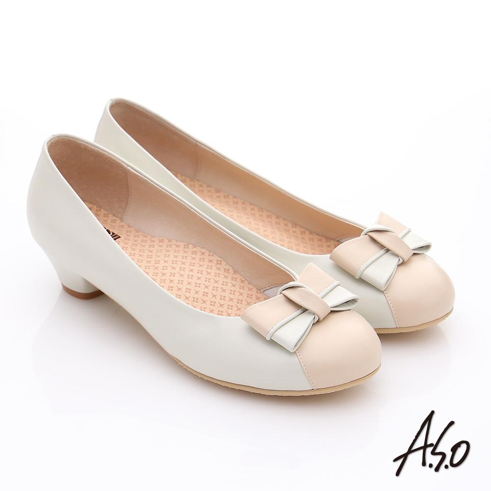 A.S.O 3E舒活寬楦 全真皮立體蝴蝶奈米低跟鞋 卡其
