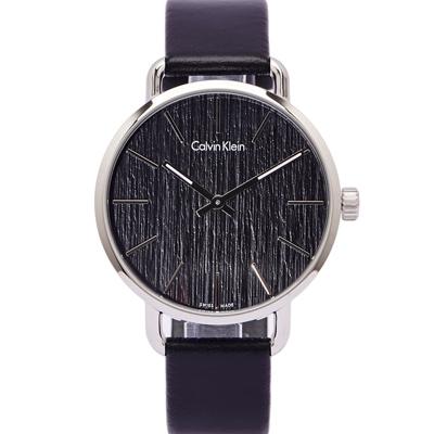 CK Calvin Klein大自然木質感手錶K7B211C1-黑面X銀框42mm