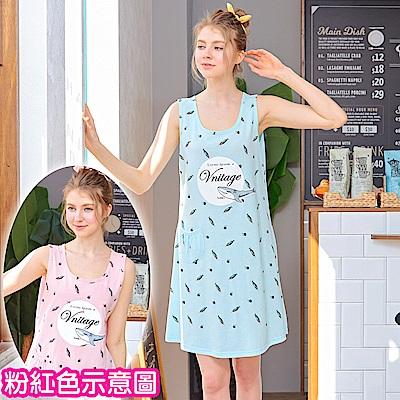 睡衣 粉紅鯊魚無袖連身睡衣(R75028-2粉紅鯊魚)台灣製造 蕾妮塔塔