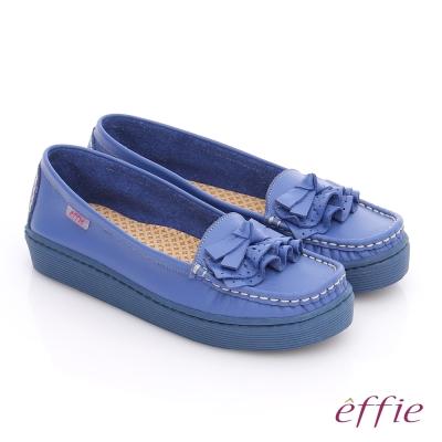 effie 縫線包仔鞋 真皮手工縫線花褶奈米平底鞋 藍
