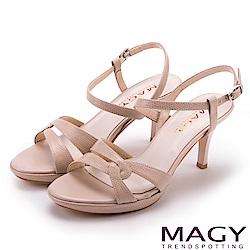 MAGY 摩登時尚 細版牛皮踝繞帶高跟涼鞋-粉膚