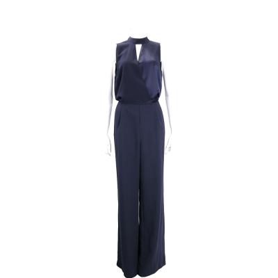 PINKO 深藍色緞面拼接無袖連身褲