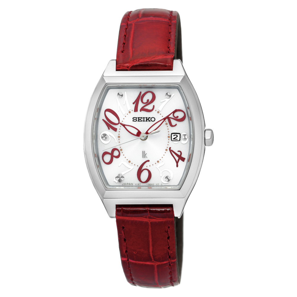 SEIKO LUKIA 遇見時刻太陽能女錶(SUT289J1)-白x紅色錶帶/26mm