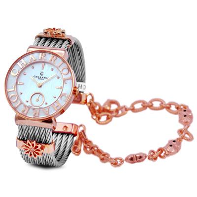 CHARRIOL NEW夏利豪玫瑰金可拆式貓頭鷹鎖鍊錶-30mm