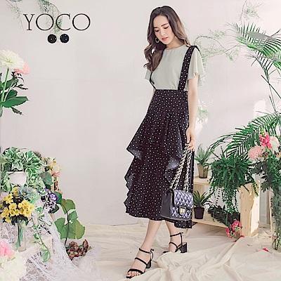 東京著衣-yoco法國好女孩點點拼接波浪下擺吊帶裙-S.M.L(共二色)