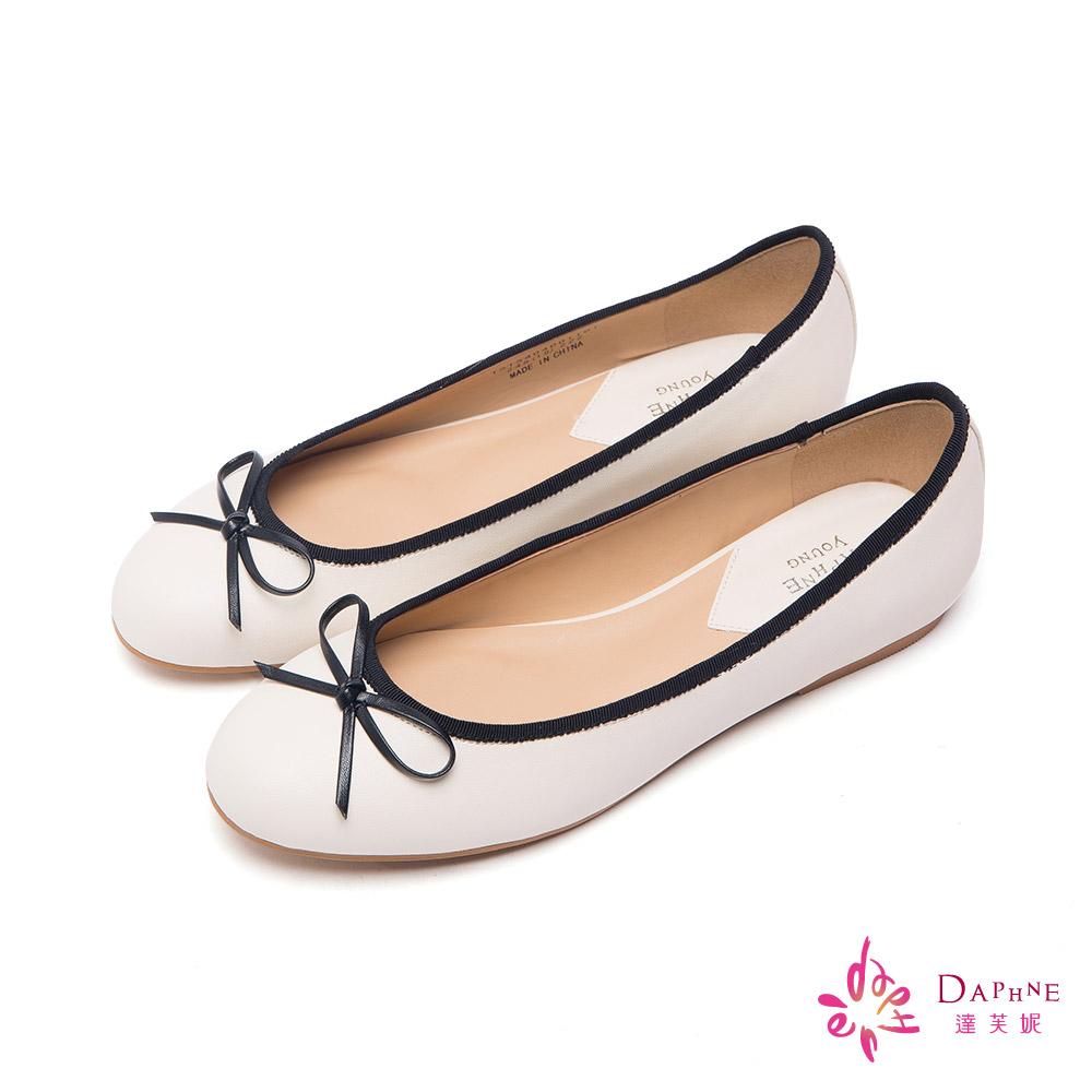 達芙妮DAPHNE 繽紛色彩滾邊蝴蝶結娃娃鞋-純淨白
